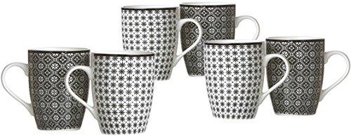 Ritzenhoff & Breker Kaffeebecher-Set Maya, 6-teilig, 300 ml, Porzellangeschirr, Weiß/Schwarz