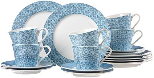 Ritzenhoff & Breker Kaffeeservice Portofino, 18-teilig, Porzellangeschirr, Weiß/Blau