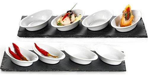 Ritzenhoff & Breker 311938 Vorspeise und Appetizer Set Scivaro, 2 Schieferplatten mit 8 flachen Schalen, 10-teilig
