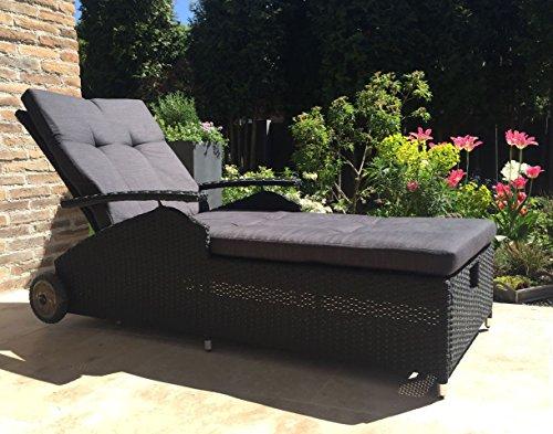 Kissen Gartenliege Liegestuhl Sonnenliege Relaxliege Anthrazit
