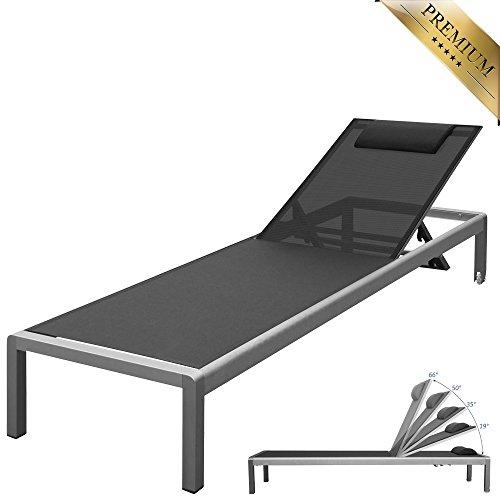 """PREMIUM XXL Aluminium-Liege """"Monaco"""" ca. 160 kg belastbar, mit Räder und Nackenrolle, bestens für den gewerblichen Einsatz geeignet, 5-fach verstellbare Rückenlehne (ganz flach), rollbar"""