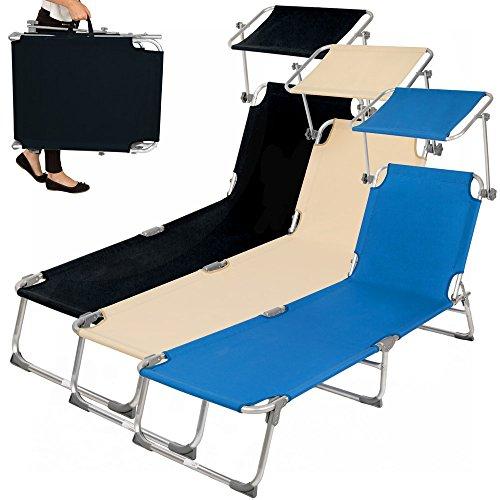 tectake aluminium gartenliege sonnenliege klappbar mit sonnendach 190cm diverse farben und. Black Bedroom Furniture Sets. Home Design Ideas