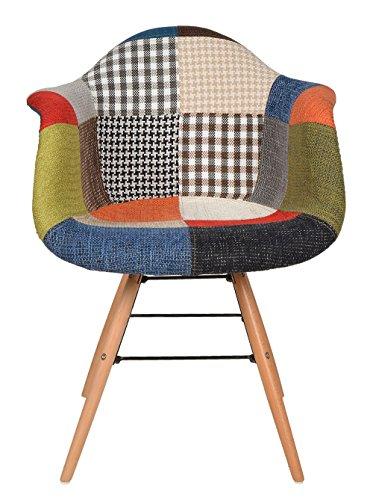 1 x Design Klassiker Patchwork Sessel Retro 50er Jahre Barstuhl Wohnzimmer Küchen Stuhl Esszimmer Sitz Holz Metall bunt