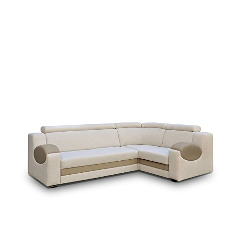 Big Ecksofa Ambro mit einstellbaren Kopfstützen, Polsterecke mit Bettkasten und Schlaffunktion, Bettsofa, Funktionssofa L-Form, Design Eckcouch mit Bettfunktion (Ecksofa Rechts, Hugo 2 + Eko Madryt 126)