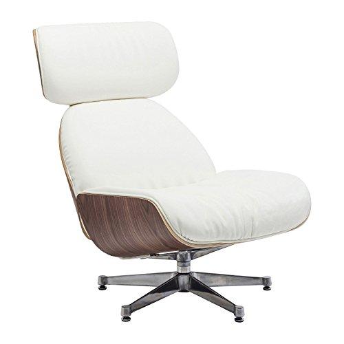 Kare Design–Drehstuhl Leder weiß und Holz Ponte Uni
