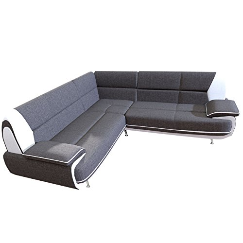 Design Ecksofa Palermo Maxi, Couchgarnitur, freistehendes Polsterecke Sofa, große Farbauswahl, Wohnlandschaft Couch (Sawana 05 + Soft 017)