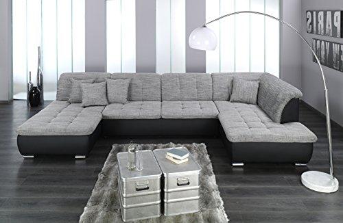 wohnlandschaft couchgarnitur xxl sofa u form schwarz grau ottomane rechts m bel24 shop xxxl. Black Bedroom Furniture Sets. Home Design Ideas