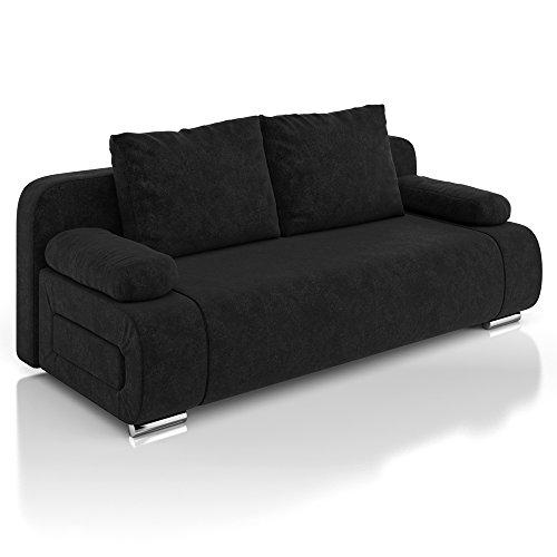 Vicco Schlafsofa Sofa Couch Ulm Federkern 200x91cm Mikrofaser schwarz Gästebett
