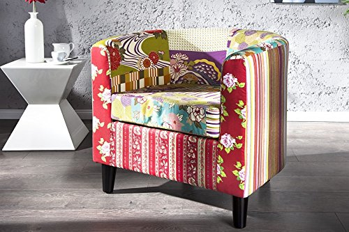 DuNord Design Sessel Clubsessel PATCHY Patchwork Retro Design Möbel Polstersessel bunt