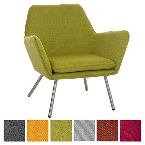 CLP Design Edelstahl Lounge-Sessel CARACAS, Stoffbezug, Polsterstärke 6 cm, Sitzhöhe 40 cm grün