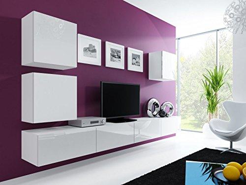 Wohnwand ' Vigo 22' Hochglanz Hängeschrank Lowboard Cube , Farbe:weiß matt / weiß Hochglanz