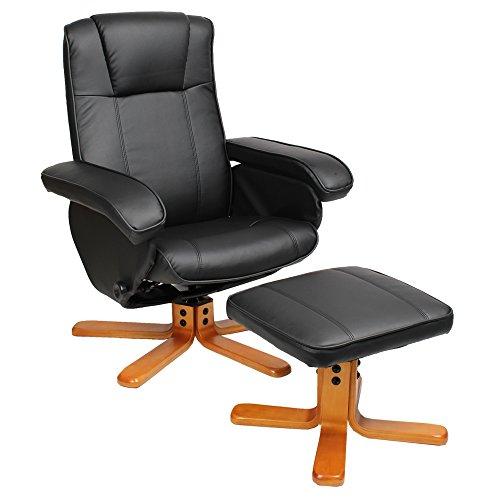 Relaxsessel Sessel TV Wohnzimmersessel Hocker Beinablage Fernsehsessel Drehstuhl (Schwarz)