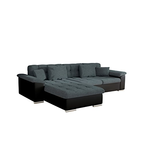Design Ecksofa Diana Dot, Eckcouch mit Bettkasten und Schlaffunktion, Elegante Couch, Moderne Polsterecke Sofa, Couchgarnitur, Schlafsofa, Bettsofa (Ecksofa Links, Soft 011 + Dot 95)