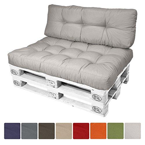 Beautissu® Palettenkissen ECO Style Rückenkissen 120x40x10-20 cm Palettenauflage in Hell-Grau Palettenpolster