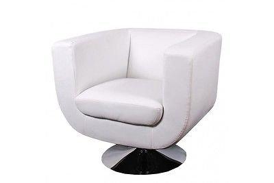 Sessel weiß Kunstleder Relaxessel Chrom Loungesessel Lounge Design modern weiss