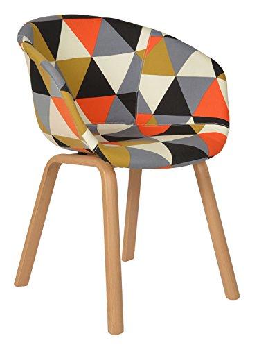 ts-ideen 1x Design Patchwork Sessel Wohnzimmer Büro Stuhl Esszimmer Sitz Stoff bunt Metallbeine
