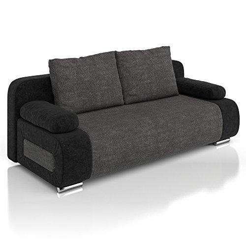 Vicco Schlafsofa Couch Sofa Ulm Federkern 200x91cm Mikrofaser-Struktur schwarz