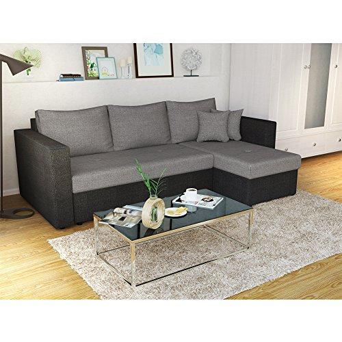 ecksofa mit schlaffunktion grau schwarz stellma 224 x. Black Bedroom Furniture Sets. Home Design Ideas