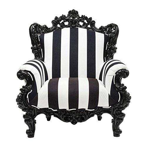 Kare Design–Sessel Barock Streifen schwarz und weiß Stripes