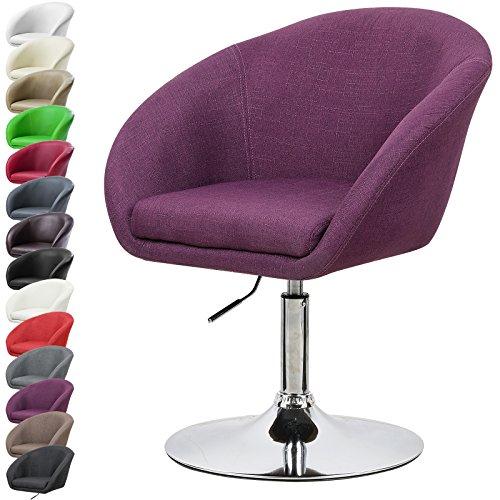 WOLTU BH61la-1-a 1 x Lounge Barsessel Sessel Design Barhocker drehbar stufenlose Höhenverstellung verchromter Stahl Leinen gut gepolsterte Sitzfläche mit Armlehne und Rücklehne Lila