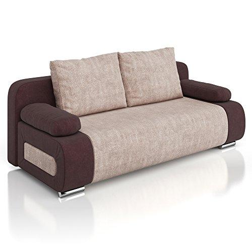 Vicco Schlafsofa Couch Ulm Sofa 200x91cm Gästebett Struktur braun Schlafcouch