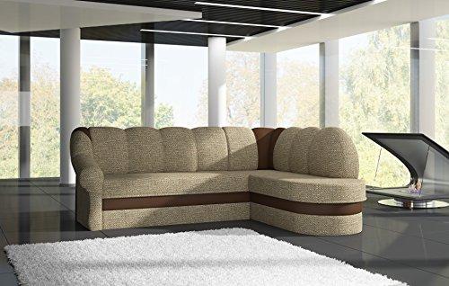 Sofa Couchgarnitur Couch Sofagarnitur BENANO Polstergarnitur Polsterecke Wohnlandschaft mit Schlaffunktion und Bettkasten, Ferderkern inside. (B 13 Berlin 03/ Soft 15 rechts)