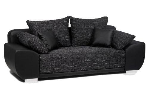 B-famous Schlafsofa Mailand-FK Materialmix Struktur und Kunstleder , schwarz-anthrazit  225x91cm