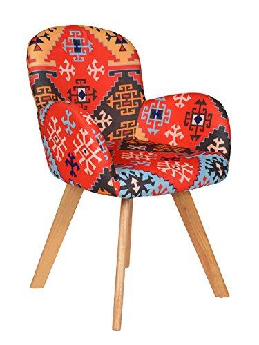 ts-ideen 1x Design Sessel Wohnzimmer Büro Stuhl Esszimmer Sitz Stoff bunt mit Holzbeinen