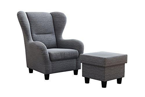 """Ohrensessel Möbelfreude® Landhausstil mit Hocker """"Savana"""" Hell-Grau Cocktail-Sessel Wohnzimmer-Sessel Relax-Sessel Grau Struktur-Stoff Luxus Wing-Chair Cocktail-Sessel (Grau)"""