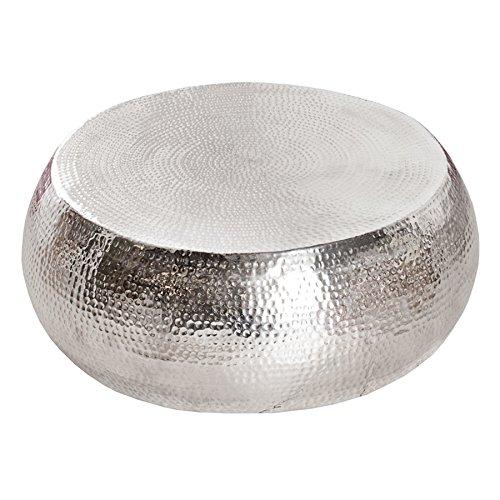 design couchtisch orient 90cm aluminium silber hammerschlag optik unikat tisch handarbeit m bel24. Black Bedroom Furniture Sets. Home Design Ideas