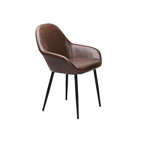 Vintage Kunstleder Lounge Stühle Grau und Braun (Set von 2), Kunstleder, braun, 57 x 60 x 85 (cm)