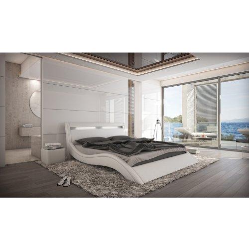 innocent polsterbett kunstleder mit led beleuchtung modani wei 160x200 cm m bel24. Black Bedroom Furniture Sets. Home Design Ideas