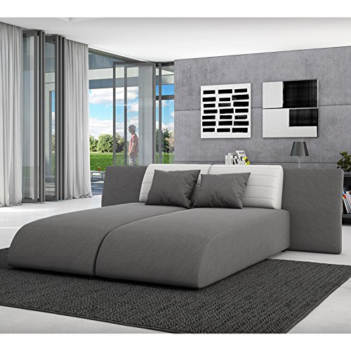 innocent ecksofa mit schlaffunktion aus textil grau r ckenlehne wei es kunstleder movia. Black Bedroom Furniture Sets. Home Design Ideas