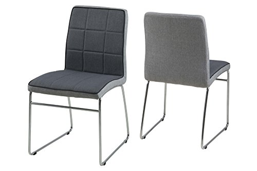 AC Design Furniture 62974 Stuhl Ryan, 4-er Set, dunkelgrau, Rücken hellgrau, Keder schwarz