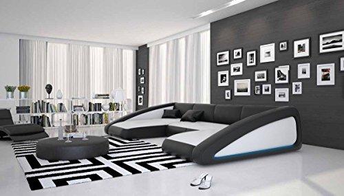 Wohn-Landschaft XXL mit LED-Beleuchtung in weiß / schwarz 355x200 cm U-Form   Sanassi-U   Design Couch-Garnitur XXL aus Kunstleder   Polster-Ecke für Wohnzimmer weiss / schwarz 355cm x 200cm