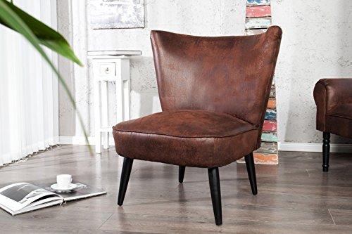 DuNord Design Sessel Polsterstuhl MARTA Mikrofaser Antiklook coffee braun Vintage Retro Design
