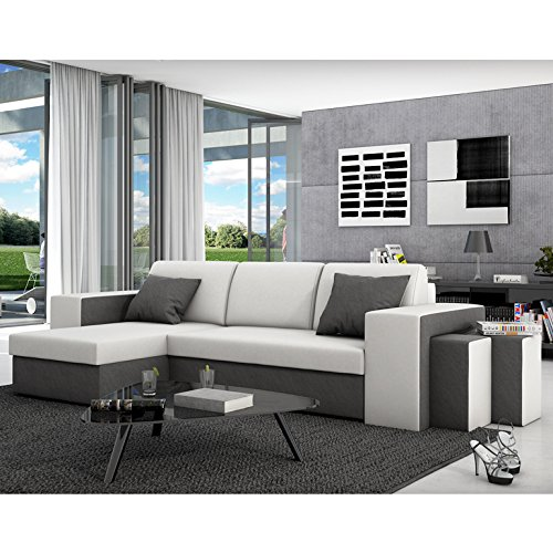 innocent ecksofa mit schlaffunktion aus kunstleder und textil grau mit wei er sitzfl che milio. Black Bedroom Furniture Sets. Home Design Ideas