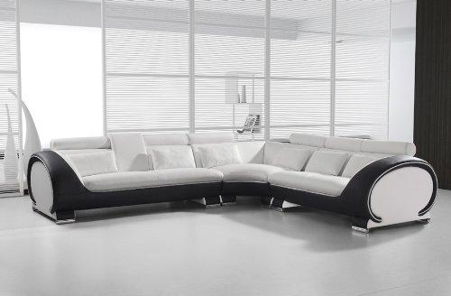 SAM® Ecksofa 286,5 x 254,5 cm, weiß weiß schwarz links, Polsterecke designed by RIcardo Paolo, Wohnzimmer Couch Sofa [53261625]