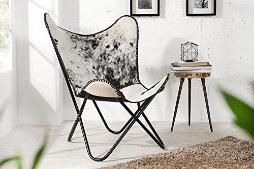 DuNord Design Sessel Stuhl TEXAS Kuhfell schwarz weiss Lounge Esszimmer Butterfly Klappstuhl Loungesessel