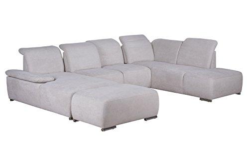 Cavadore Wohnlandschaft Tabagos / U-Form mit Ottomane rechts / XXL Sofa mit Sitztiefenverstellung / Kopfteilverstellung / Armteilverstellung / 364 x 85-96 x 248 (B x H x T) / Farbe: Grau/Weiß