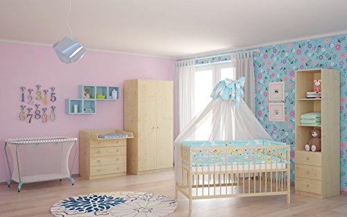 Polini Kids Babyzimmer Kinderzimmer komplett Set Ahorn/Natur 4-teilig mit Babybett, Wickelkommode, Kinderkleiderschrank, Standregal