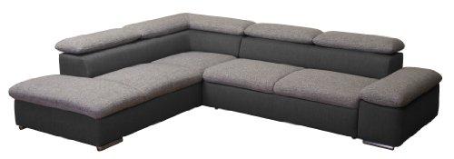 Polsterecke Valerie/Ottomane-3er Bett mit Armteilfunktion/274 x 66-88 x 228 cm/Bering 90 schwarz weiss-Inari 100 schwarz