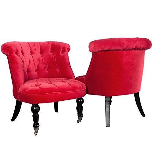Stylischer Design Sessel JOSEPHINE Leinen rot Stoff Wohnzimmersessel Esszimmerstuhl hohe Rückenlehne im Barock Stil mit Rollen