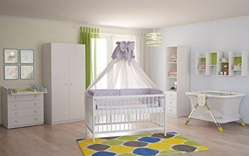 Polini Kids Babyzimmer Kinderzimmer komplett Set weiß 4-teilig mit Babybett, Wickelkommode, Kinderkleiderschrank, Standregal