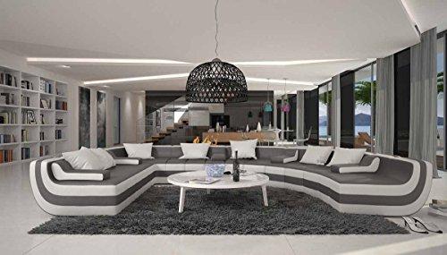 Wohn-Landschaft XXL mit Kunstleder Bezug grau / weiß halbrund 390x290 cm   Terassi   Design Couch-Garnitur XXL Recamiere rechts   Polster-Ecke für Wohnzimmer grau / weiss 390cm x 290cm