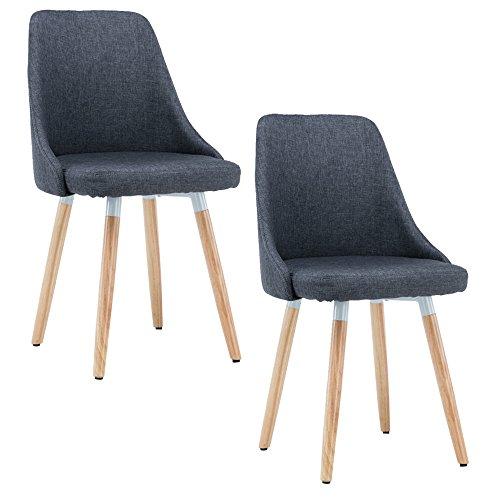 MCTECH® 2x Stuhl Esszimmerstühle Esszimmerstuhl Stuhlgruppe Konferenzstuhl Küchenstuhl Armlehne Büro mit Massivholz Eiche Bein (Type B, Grau)