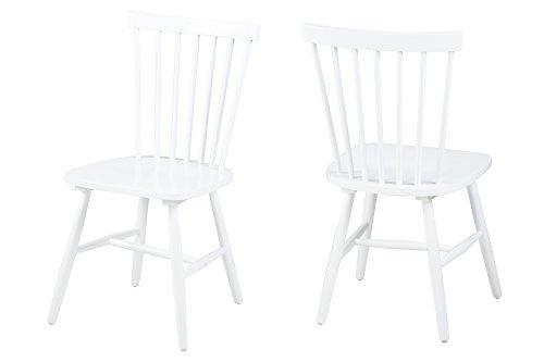 AC Design Furniture 63658 Esszimmerstuhl Susanne, Rubberwood, 2-er Set, weiß lackiert
