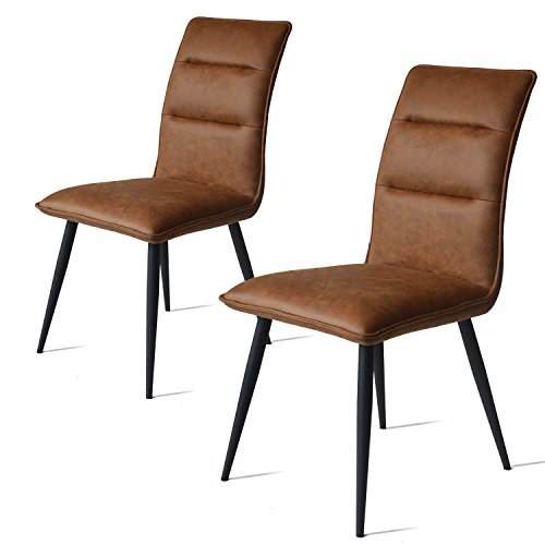 Damiware Willow Chairs set of 2 | Dining chairs | Leatherlook fabric with Metal legs (Cognac)