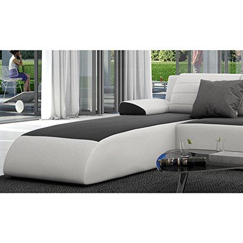 innocent ecksofa mit schlaffunktion aus kunstleder wei mit schwarzer sitzfl che movia 2. Black Bedroom Furniture Sets. Home Design Ideas