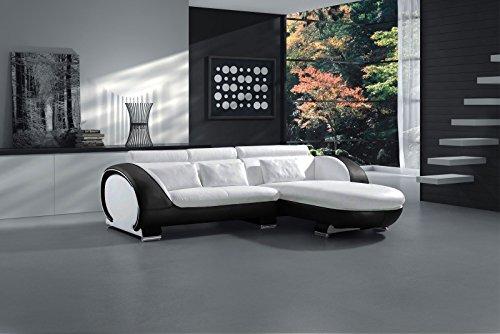 SAM® Ecksofa Vigo Combi 1 242 x 181 cm Weiß Weiß Schwarz rechts Polsterecke Wohnzimmer Couch Sofa
